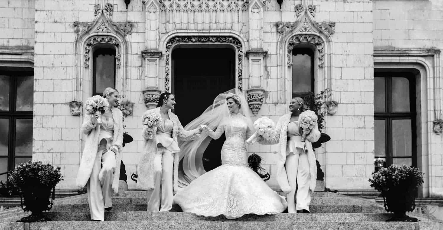 bride and bridesmaids at chateau challain